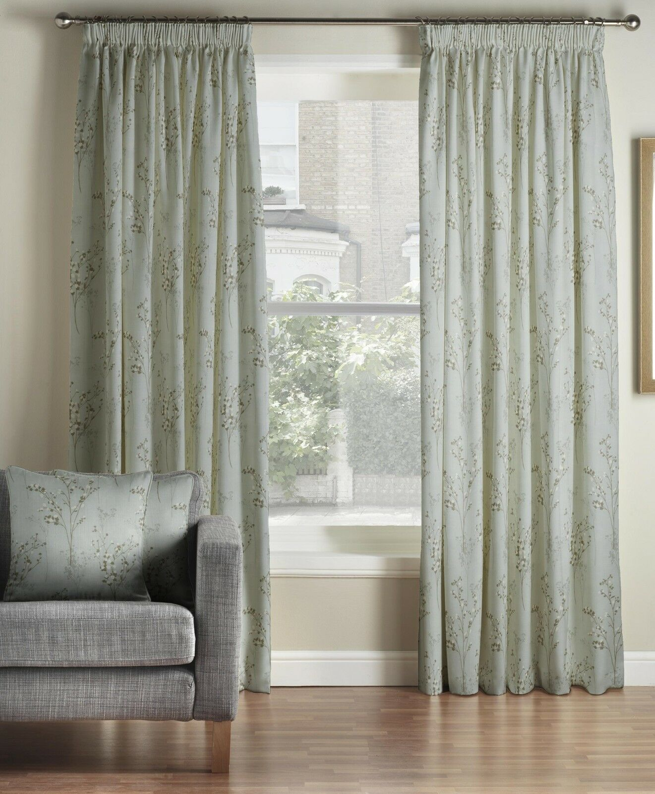 One Pair Of Of Of MONTGOMERY Modern Luxury Floral Design Pollen Pencil Pleat Curtains cabf14