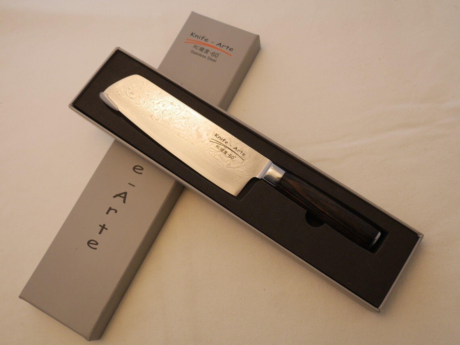 Santoku - Messer aus Damast- Damaszener Stahl und Pakkaholzgriff - Neu