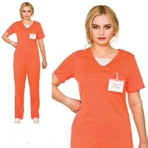 Ladies Orange Convict Costume Boilersuit Prisoner Womens Fancy Dress