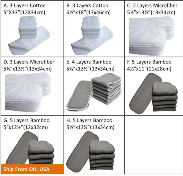 4 Layers Washable Reusable Baby Bamboo Charcoal Cotton Liners For Cloth Diapers