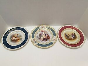 Vintage Set of 3 Imperial Crown China Austria Portrait Style Plates