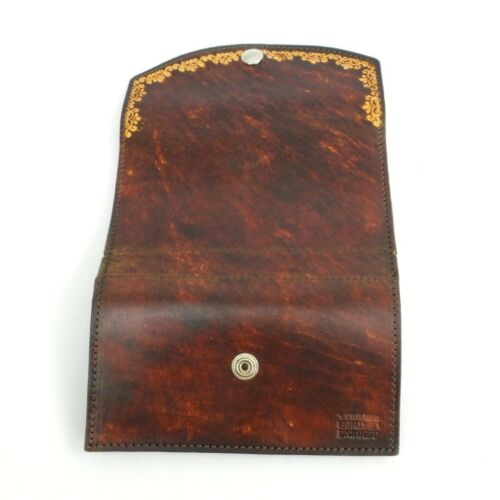 Antique Scroll Brown Leather Wallet Organizer Checkbook Clutch Trifold USA Made