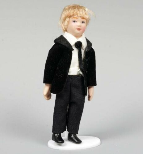 1:12 Dollhouse Miniature Doll Standing Porcelain Doll Cool Boy With Black Suits