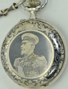 ONE OF A KIND WWI Bulgarian Military Officer's silver&niello watch.Award by King