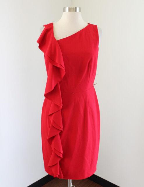 f61617b8 Calvin Klein Red Ruffle Front Asymmetric Neck Sheath Dress Size 4 Chic  Office