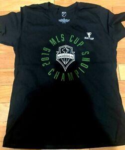 Women's Seattle Sounders Champions MLS Cup 2019 Black T-shirt 100% Cotton S M L