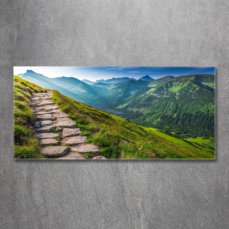 Glas-Bild Wandbilder Druck auf Glas 120x60 Deko Landschaften Weg Gebirge Tatra