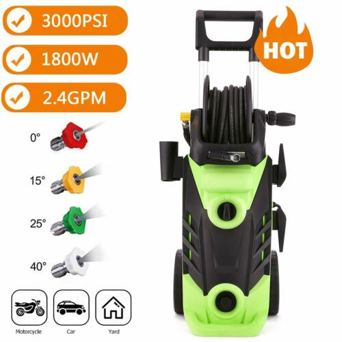 Heavy Duty 3000PSI Electric High Pressure Washer 1800W 2.4GPM Jet Sprayer Green