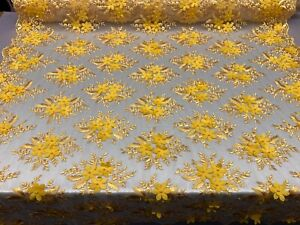 HIGH QUALITY Beaded Lace Embroidery Mesh Lace Fabric By The Yard Handmade Floral Lace 3D Flowers Design With Beads And Pearls Yellow .