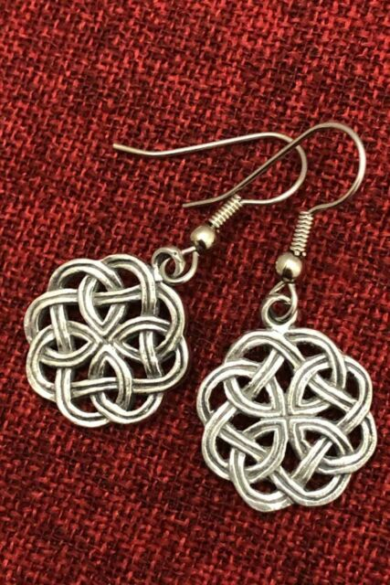 Celtic Knot Earrings Endless Irish Kells Iona Surgical Steel Hooks Silver Pewter
