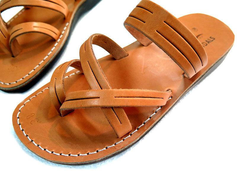 Jerusalem Biblical Jesus Sandals Caramel   Black Leather Strap women 35-41