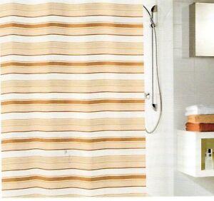 Duschvorhang Textil Stripes Beige 180x200 Cm Ebay