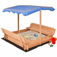 Beach Cabana Sandbox Retractable w/ Canopy Bench Seat Kids Children Outdoor Play