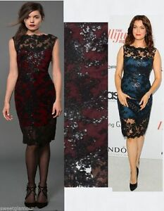 Image Is Loading 328 Tadashi Shoji Illusion Sequin Paillette Embroidered Lace