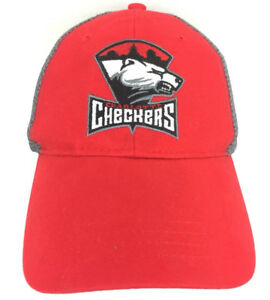 Charlotte-Checkers-Cap-Hockey-Hat-Logo-Snapback-Mesh-Trucker-Baseball-Red-Gray