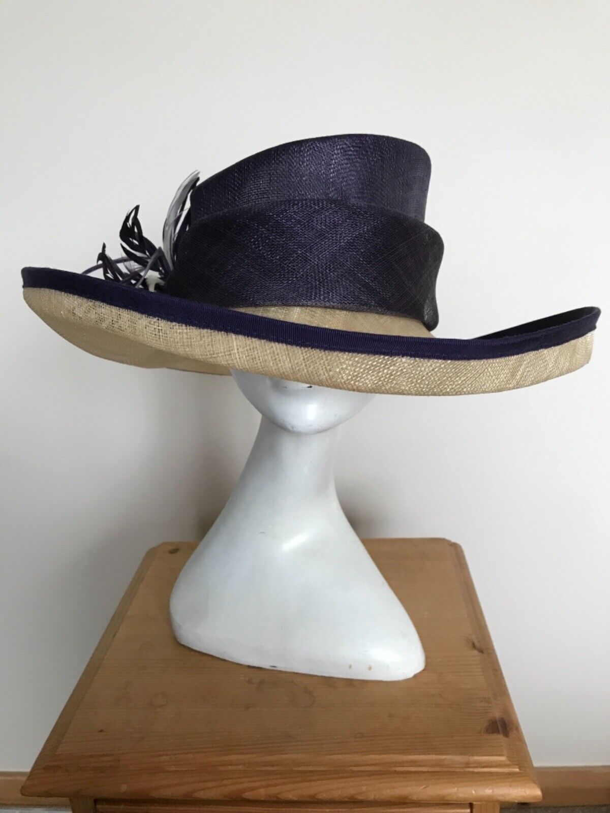 Large Purple and Cream Hat by Jacques Vert Wedding, Mother of the Bride, Races