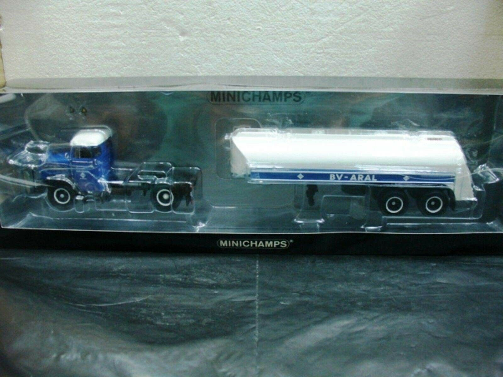 WOW EXTREMELY RARE Man F8 Tanksattelzug Aral 1954 bluee White 1 43 Minichamps-860