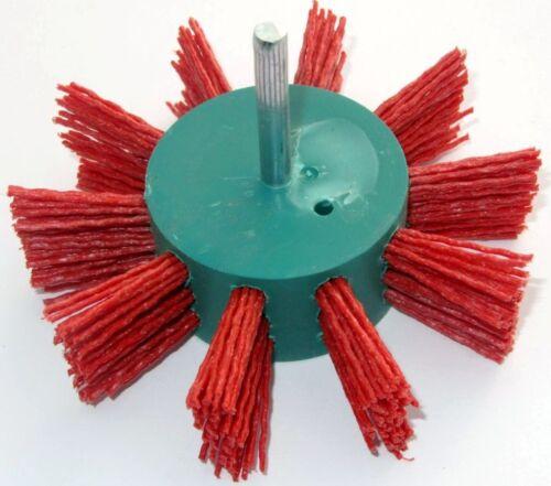 5x Schleifnylon-Fächerbürste D=100x25 Schaft 6mm SiC K80 Flächen-Bürste 4500 upm
