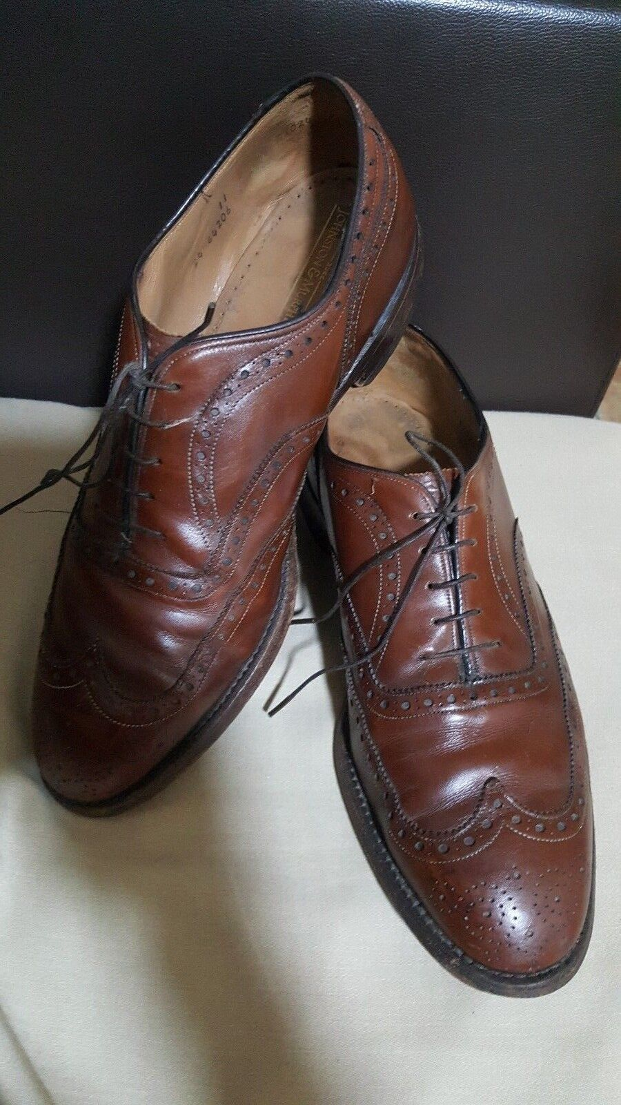 JOHNSTON&MURPHY Made in USA Brown Leather Men's shoes -size UK 10 EU 44-