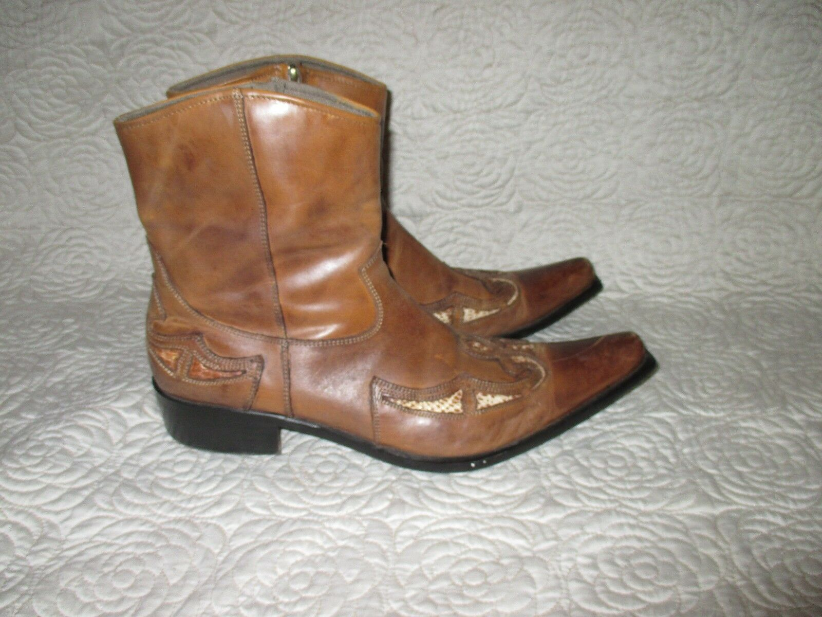 ALDO  Burnished Brown Leather Zip Up Western Ankle Boots Size 45