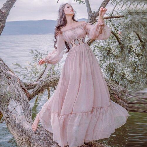 Damen viktorianisch Vintage langes Kleid Rüschen Lolita Puffärmel Fee Prinzessin