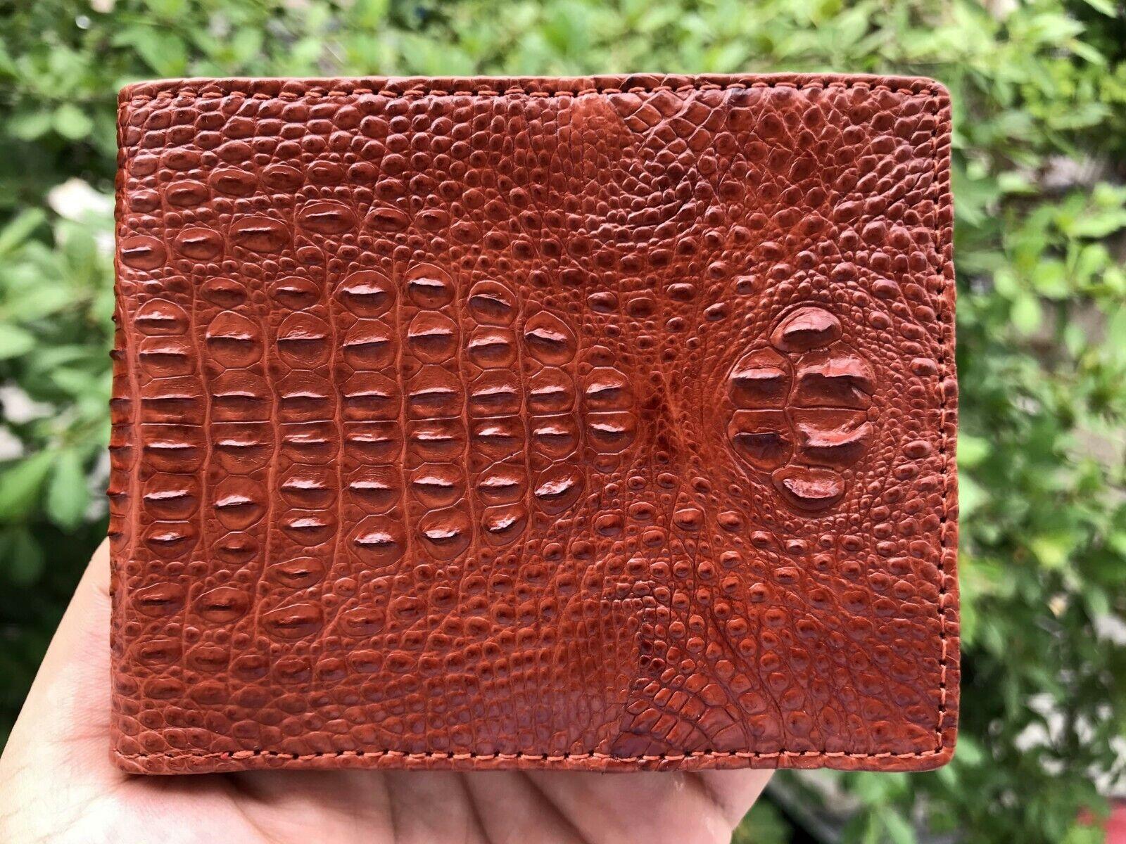 Brown Leather Men Wallet Bifold Genuine Alligator Crocodile Handmade RFID