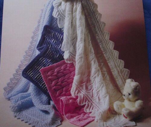 Vintage 2 Couvertures//Châles /& 2 Landau Couvre Knitting Pattern in DK /& 4-PLY