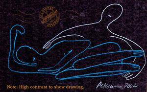 Обнаженная + обнимая любителей любящая на черном подписанный оригинал минималистский рисунок #love