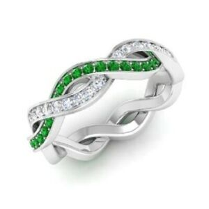 1.08 Ct Genuine Diamond Emerald Engagement Eternity Band 14K White Gold Size 5