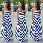 Women Sexy Summer Boho Maxi Long Evening Party Beach Dress Chiffon Sundress 6-16