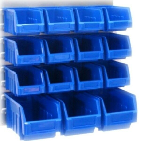 15 Brand New Quality Kit Stacking Parts Bins Powder Coated Steel Louvre Panel