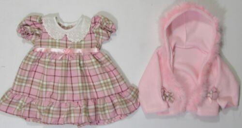 Baby Girls Clothes Tartan Pink Red Fur Fluffy 2 Piece Dress Fleece Jacket Hood