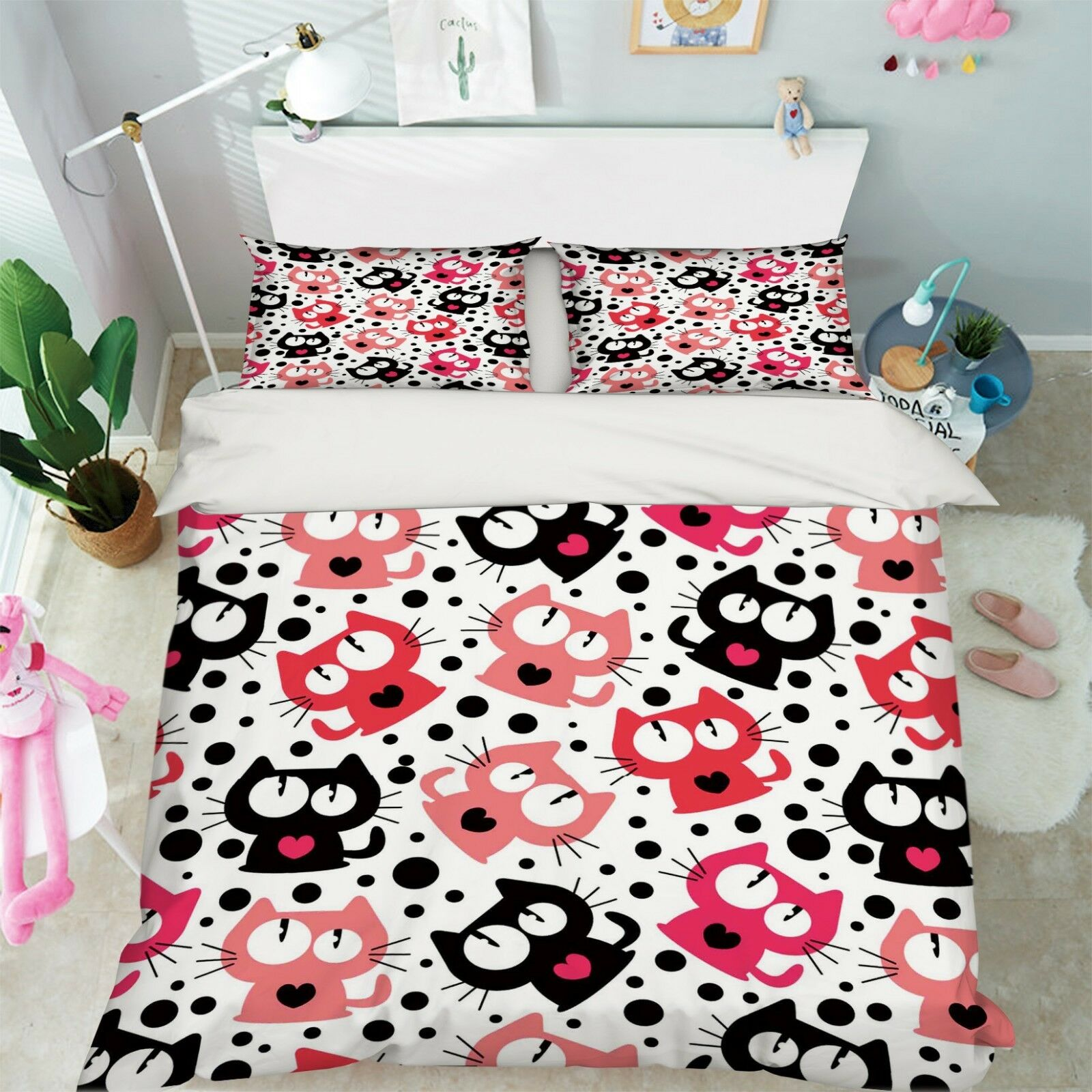3D Cartoon Cat 577 Bed Pillowcases Quilt Duvet Cover Set Single Queen AU Carly