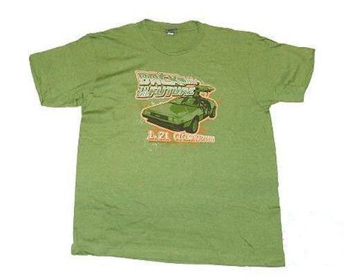 Nouveau retour vers le futur green delorean rétro effet vieilli homme large l tee t shirt