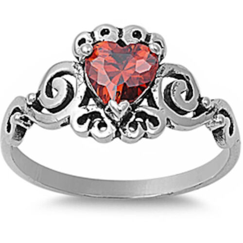 Heart Simulated Garnet .925 Sterling Silver Ring Sizes 5-10