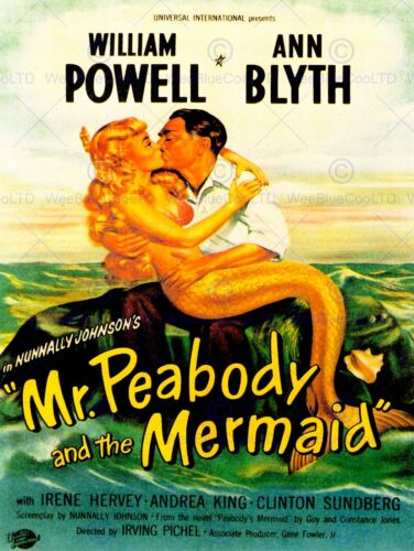 VINTAGE MOVIE FILM MR PEABODY MERMAID POWELL BLYTH NEW ART PRINT POSTER CC5087