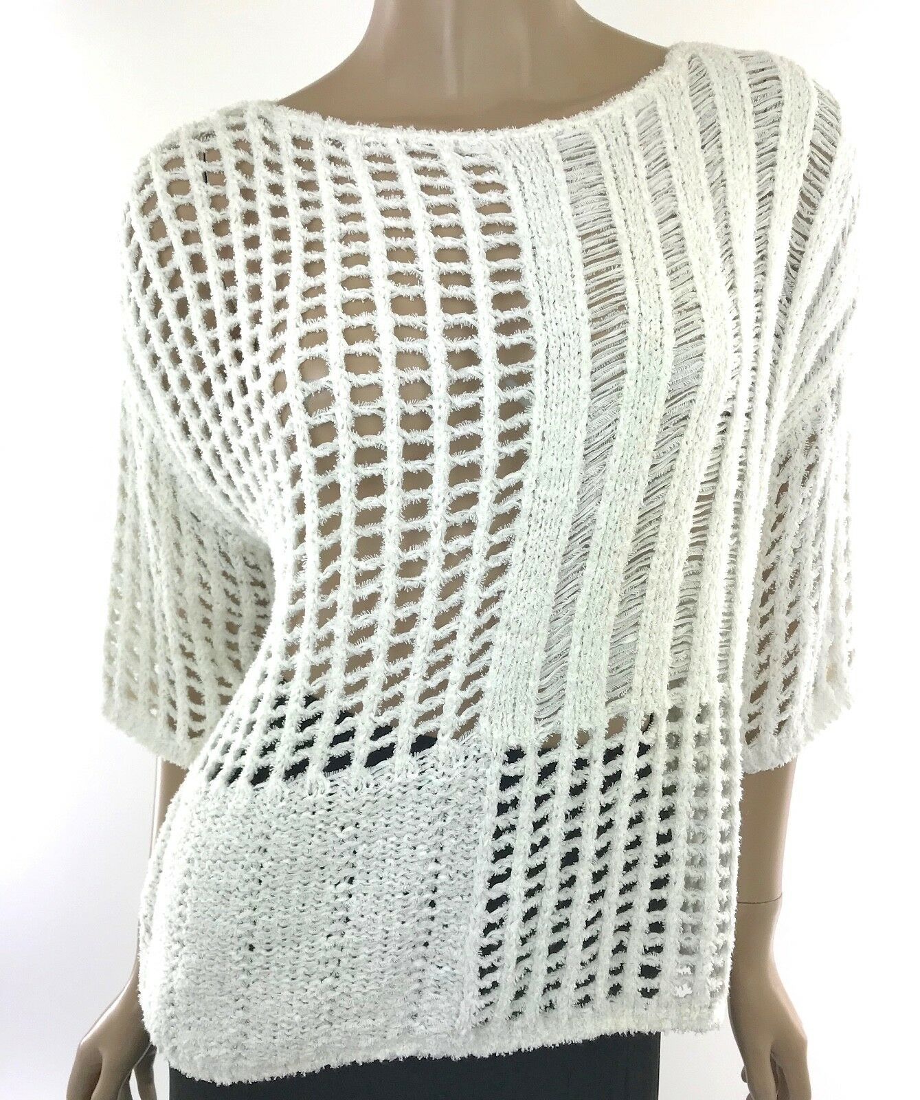 Leo & Sage New Size S White Cotton Blend Patchwork Sweater 3 4 Sleeves MSRP