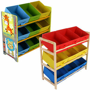 CHILDRENS-TOY-STORAGE-UNIT-KIDS-SHELF-3-TIER-9-CANVAS-DRAWER-BASKETS ...