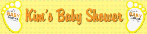 2 Personalised baby shower banners boy girl neutral pink blue party decoration