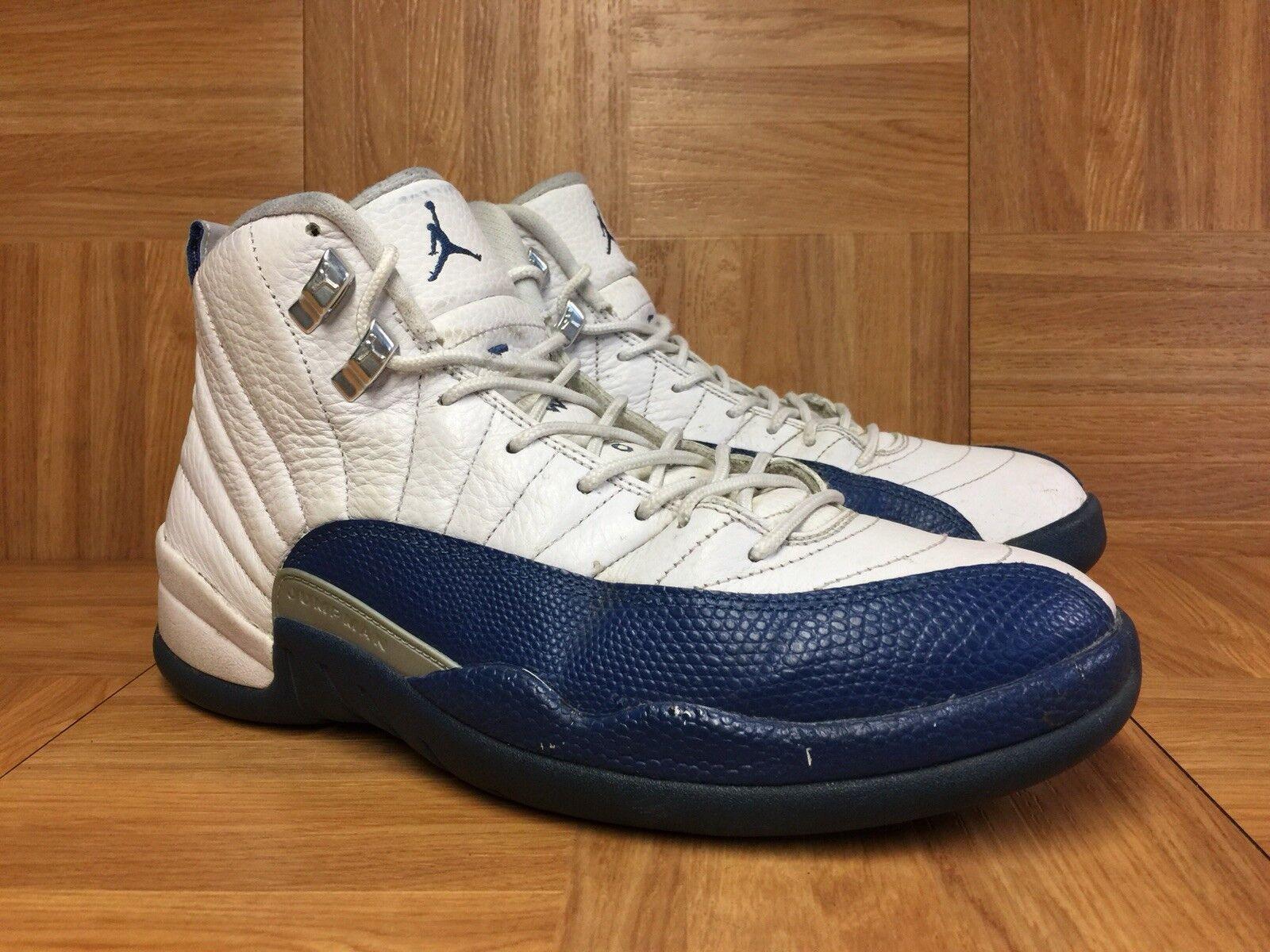 RARE Nike Air Jordan 12 XII Retro French bluee White Silver Sz 9 130690-113 Men