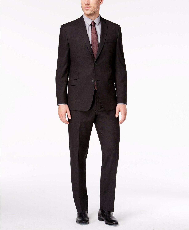 850 Marc New York 38S Para Hombre Calce Clásico 2 Pieza Negro Traje Chaqueta Pantalones sólido  venta al por mayor barato
