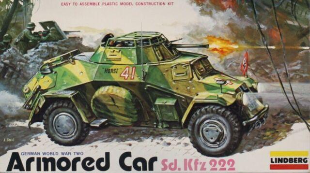 Lindberg 1:35 WWII German Armored Car Sd.Kfz.222 Plastic Model Kit #1404U1