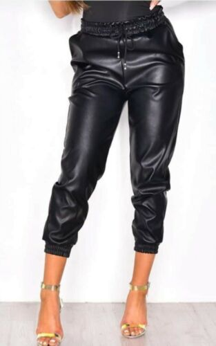 PU Faux Leather Cuffed Joggers Trousers Drawstring Waist Cropped Cargo Pants New
