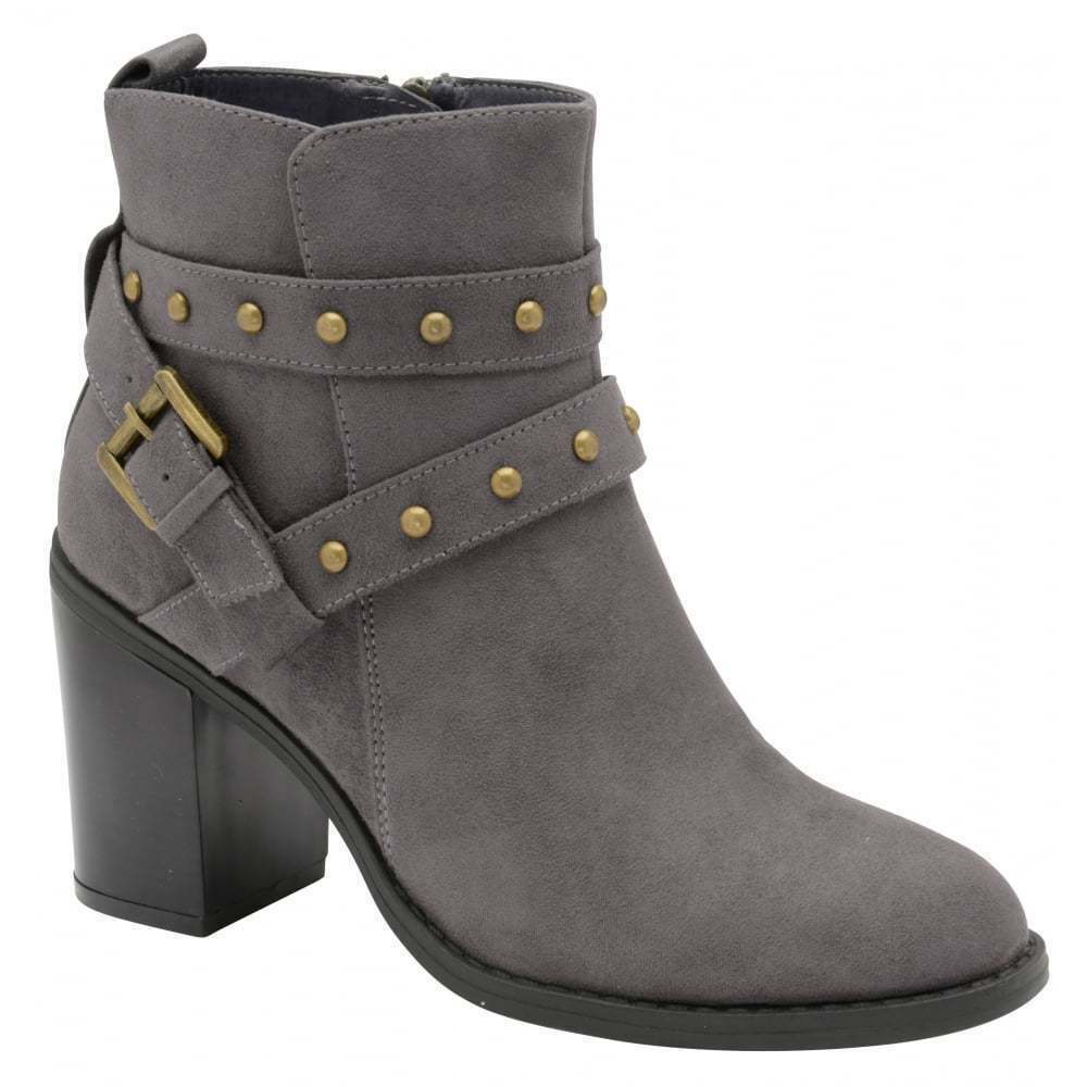 WOMENS DOLCIS PIPER GREY MEMORY FOAM COMBAT MILITARY BIKER MID HEEL ANKLE BOOTS