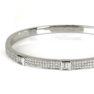Stylish-1-41-TCW-Round-amp-Baguette-Cut-Diamonds-Bangle-Bracelet-In-14k-White-Gold
