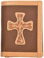 Genuine Leather Men's Western 3d Wallet Tri Fold Tan Cross Rodeo Wallet