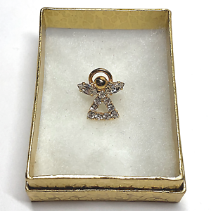 Vintage-Christian-Religious-Lapel-Hat-Pin-Back-Angel-w-Halo-1-2-034-Clear-Stone-42
