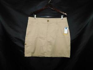 Croft-amp-Barrow-14-NWT-Khaki-Brown-Skort-Skirt-Shorts-Natural-Fit-Cotton-Lg-NEW