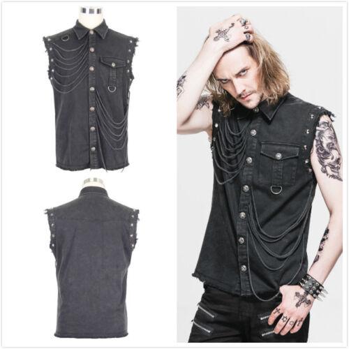 Devil Fashion Men/'s Black Goth Rock Punk Sleeveless Shirt Top SHT007