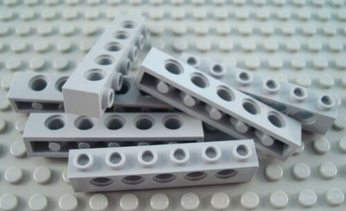 LEGO Lot of 4 Light Bluish Gray 1x6 Technic Brick Pieces